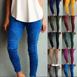 Pants - Moto Leggings with Zipper Ankle Detail